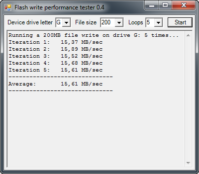 Flash write performance tester 0.4 screenshot
