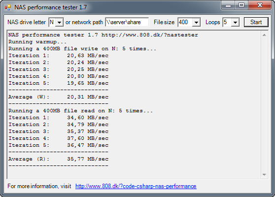NAS performance tester 1.7 screenshot
