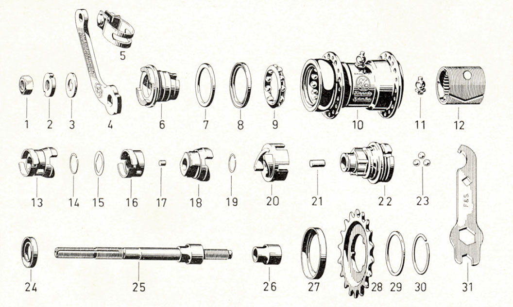 Freilauf parts list and exploded-view drawing