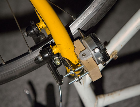 DIY wheel truing dial indicator mounted on bike