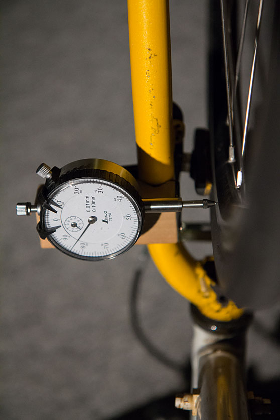 DIY wheel truing dial indicator usage